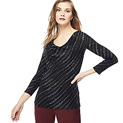 The Collection - Black embellished cowl neck top