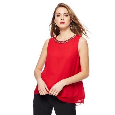 The Collection   Red Sleeveless Necklace Top by The Collection