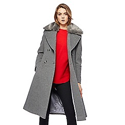 The Collection - Grey faux fur collar wool rich coat