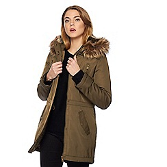 The Collection Petite - Khaki faux fur parka