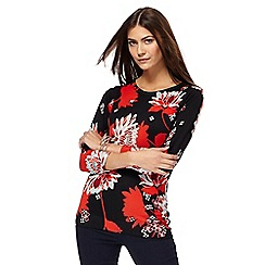 The Collection Petite - Black floral print petite jumper