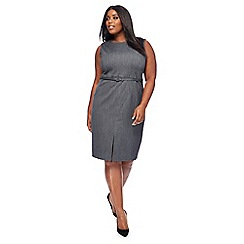 The Collection - Grey textured plus size knee length pencil dress
