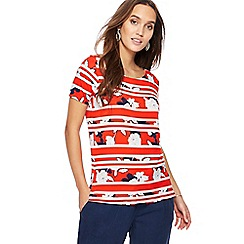 The Collection - Red floral striped top