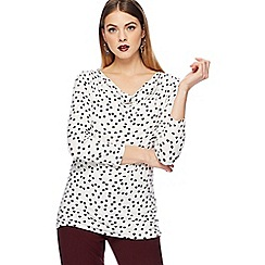 The Collection - Ivory scratchy spot print cowl neck top