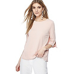 The Collection - Light pink textured flute sleeve top