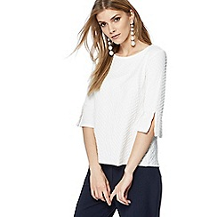 The Collection - Ivory textured flute sleeve top