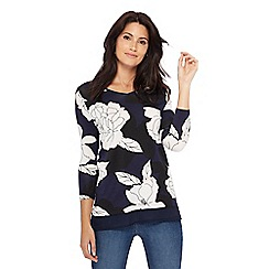 The Collection - Navy floral print 3/4 length sleeve tunic