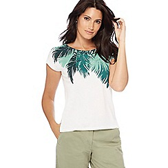 The Collection - Ivory palm print cap sleeve top