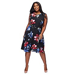 The Collection - Black floral print plus size midi skater dress