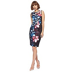 The Collection - Black floral print scuba knee length pencil dress