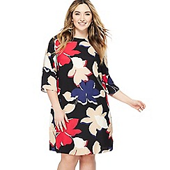 The Collection - Multi-coloured floral print knee length plus size shift dress