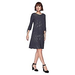 The Collection - Navy spotted knee length dress