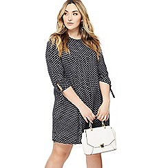 The Collection - Navy spotted knee length plus size dress