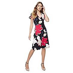 The Collection - Multi-coloured leaf print V-neck knee length dress