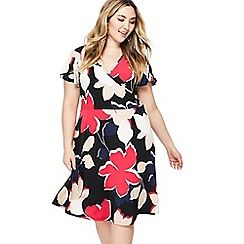 The Collection - Multi-coloured leaf print V-neck plus size knee length dress