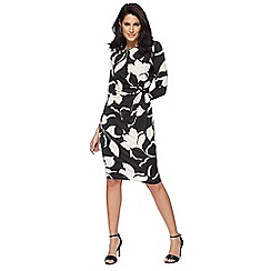 The Collection - Black floral print knee length dress