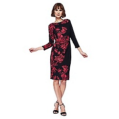 The Collection - Black floral print midi length dress