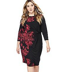 The Collection - Black floral print midi length plus size dress