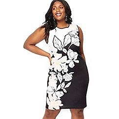 The Collection - Black floral print scuba dress