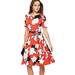 The Collection - Dark orange floral print knee length skater dress