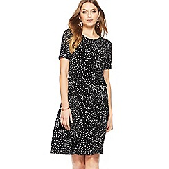 The Collection - Black spotted print knee length skater dress