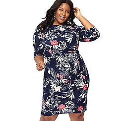 The Collection - Navy floral print knee length plus size dress