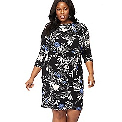 The Collection - Black floral print knee length plus size dress