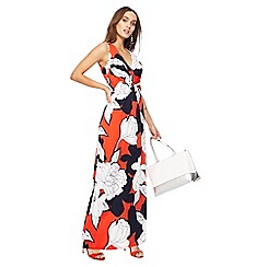 The Collection - Dark orange floral print V-neck maxi dress