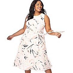 The Collection - Light pink floral print midi plus size dress