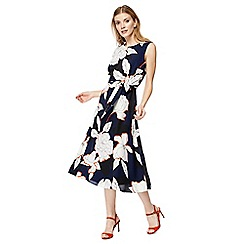 The Collection - Navy floral print midi dress