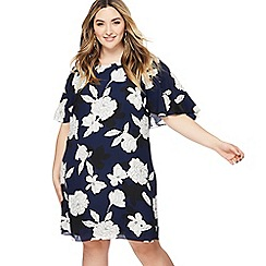 The Collection - Navy floral print pluse size knee length dress
