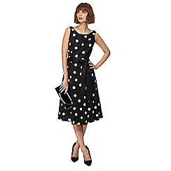 The Collection - Black spotted print midi prom dress