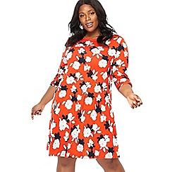 The Collection - Dark orange floral print jersey 'Bette' mini dress