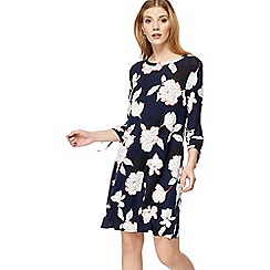 The Collection - Navy floral print jersey 'Bette' mini dress