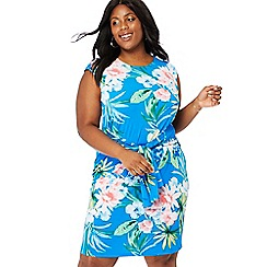 The Collection - Blue floral print round neck knee length tie-front plus size dress