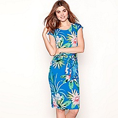 The Collection - Blue floral print round neck knee length tie-front dress