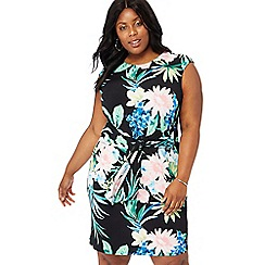 The Collection - Black floral print round neck knee length plus size dress