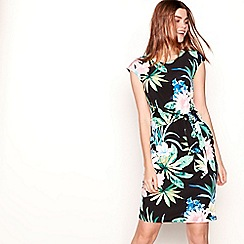 The Collection - Black floral print round neck knee length dress