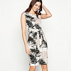 The Collection - Multi-coloured palm print round neck knee length plus size dress