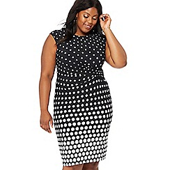 The Collection - Black spotted plus size knee length dress