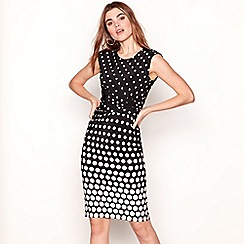 The Collection - Black spotted round neck knee length dress