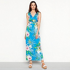 The Collection - Blue 'Honalulu' floral print V-neck plus size maxi dress