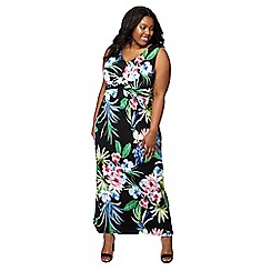 The Collection - Black 'Honalulu' floral print V-neck plus size maxi dress