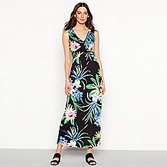 The Collection - Black 'Honalulu' floral print V-neck maxi dress