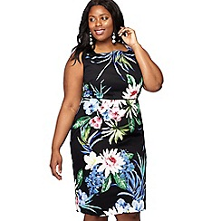 The Collection - Black floral print 'Honalulu' knee length plus size pencil dress