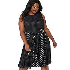 The Collection - Black mixed spot print chiffon round neck plus size midi dress