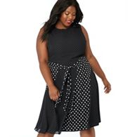 The Collection - Black mixed spot print chiffon round neck plus size midi  dress e60928bd2