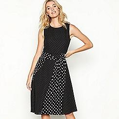 The Collection - Black mixed spot print chiffon round neck midi dress
