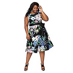 The Collection - Black floral print cotton round neck midi plus size prom dress
