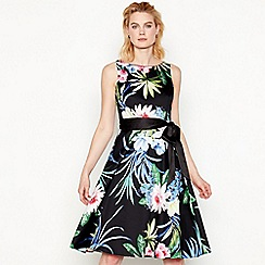 The Collection - Black floral print 'Honalulu' knee length prom dress